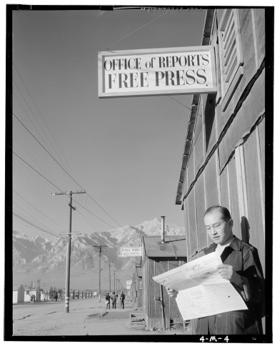 Editor Roy Takeno at Manzanar War Relocation Center, 1943 by Ansel Adams (Library of Congress)