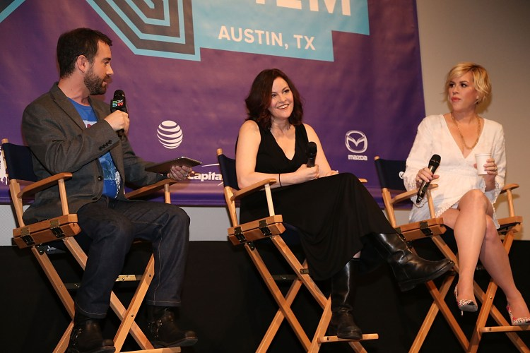 AUSTIN, TX - MARCH 16:  Molly Ringwald and Ally Sheedy celebrate The Breakfast Club 30th Anniversary Edition Blu-ray at SXSW 2015 at the Paramount Theatre on March 16, 2015 in Austin, Texas.  (Photo by FilmMagic/FilmMagic)