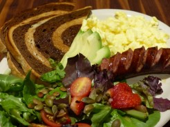 Kerbey Kick Start – served with a spring mix topped with pumpkin seeds copy