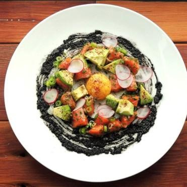 Salmon Poke, avocado, black sesame, yuzu, yolk, sumac