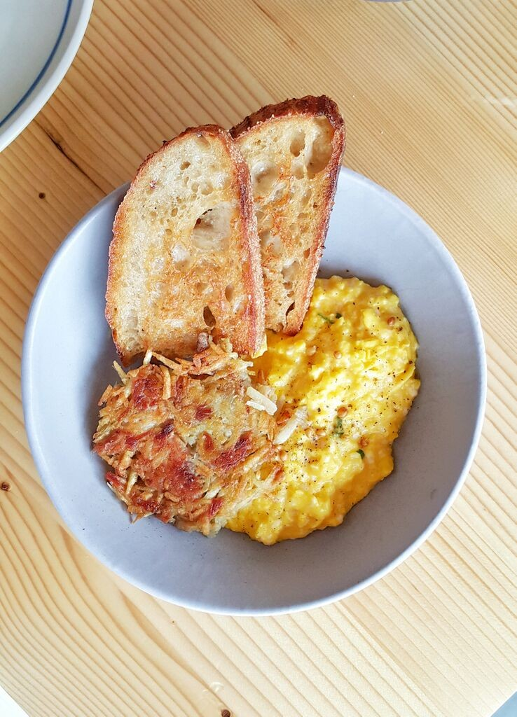 Emmer and Rye Soft Scrambled Eggs