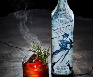 Dragonglass Old Fashioned cocktail with bottle - White Walker by Johnnie Walker specialty cocktail created by mixologist Gabe Orta