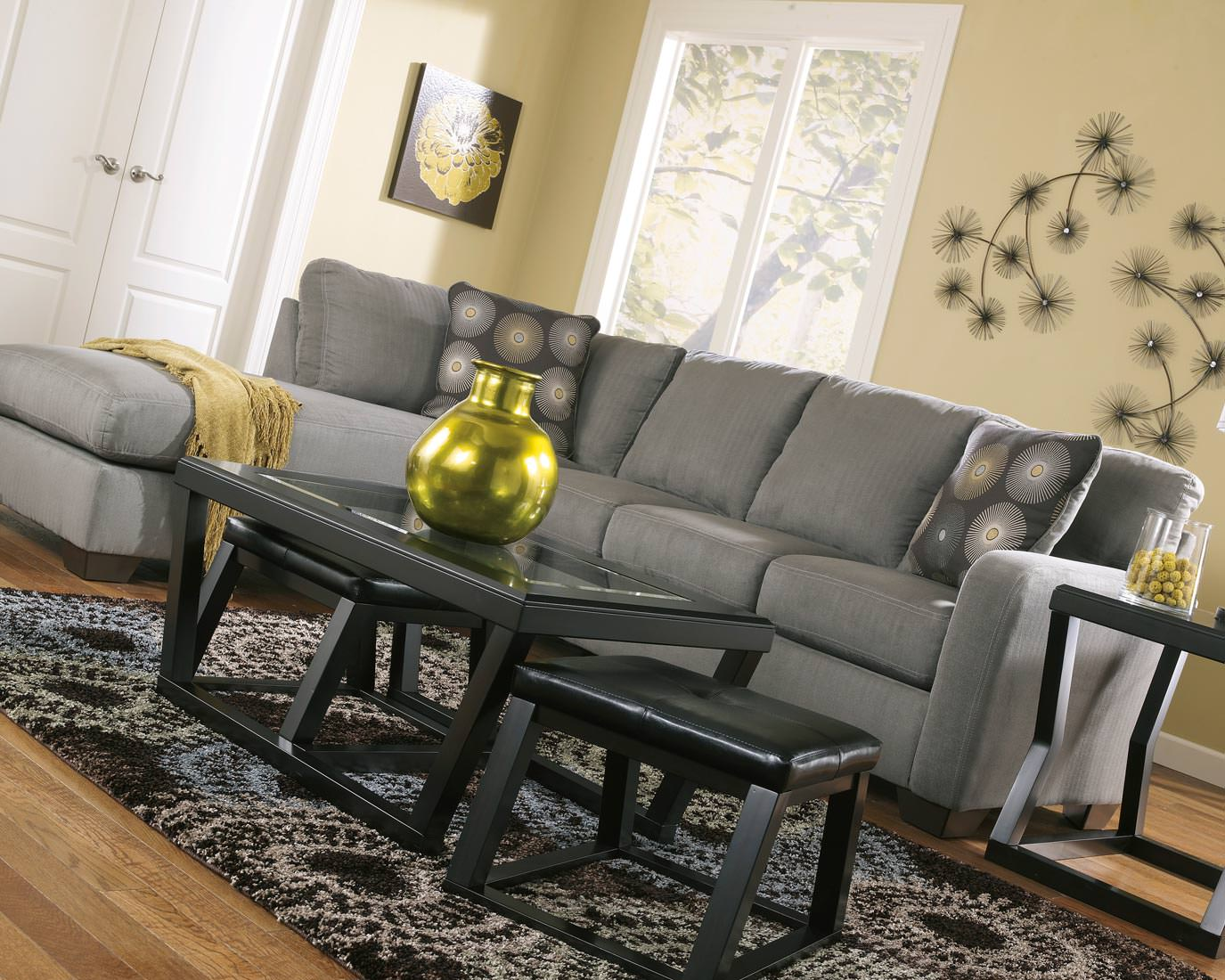Ashley Zella Sectional in Charcoal  Austins Furniture Depot