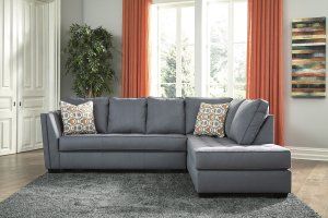 Ashley Filone Sectional in Steel   Austin&39;s Furniture Depot