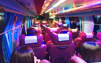 Party bus to Muju, note the crazy lights