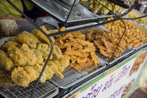 Delicious fried food at the Bangkok weekend market