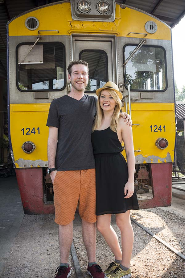 Nicole and I in front of the train