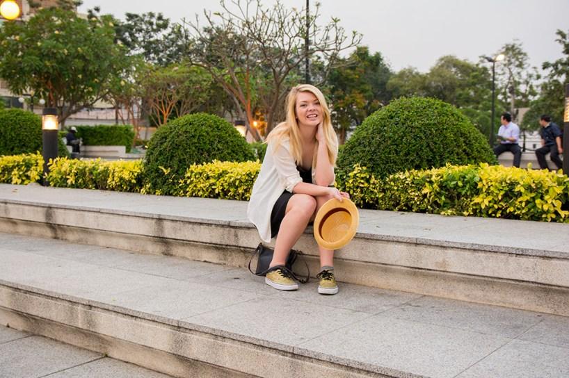 Nicole in the park across from Wat Arun