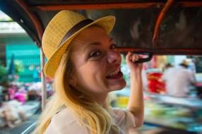 Nicole on a Tuk Tuk