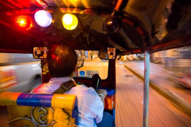 Riding across town on a Tuk Tuk