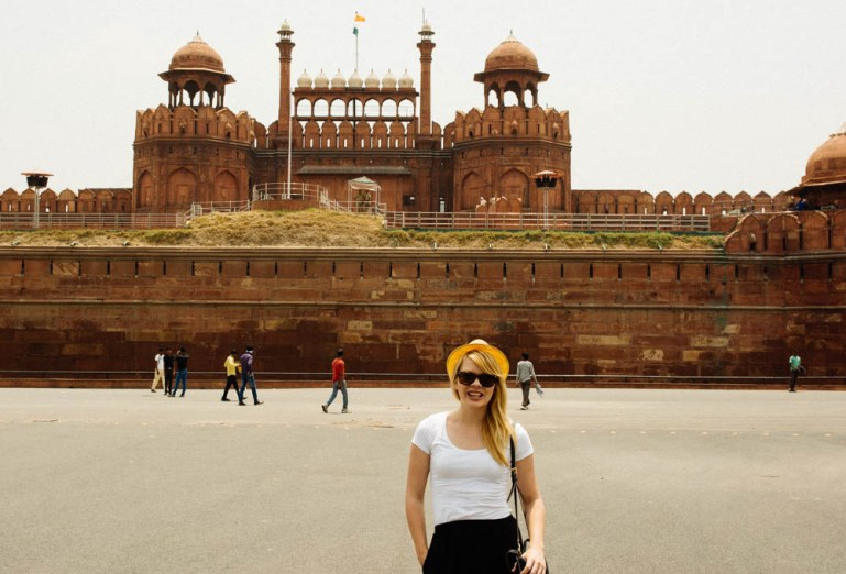 Nicole in front of Red Fort in Delhi India