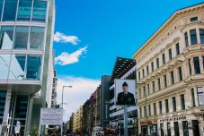 Checkpoint Charlie and the photo of a US soldier stationed there