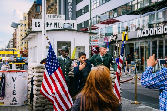 Checkpoint Charlie and reenactors