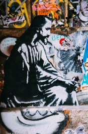 Jesus with spray paint