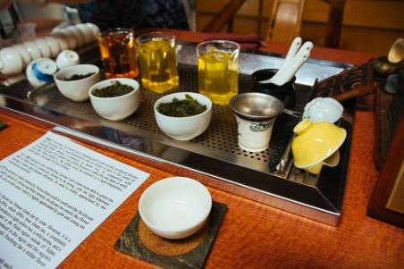 Sampling teas in the tea shop
