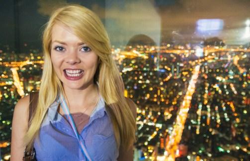Nicole at the top of Taipei 101