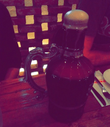 """Our """"pitcher"""" of beer at Praha Castle"""