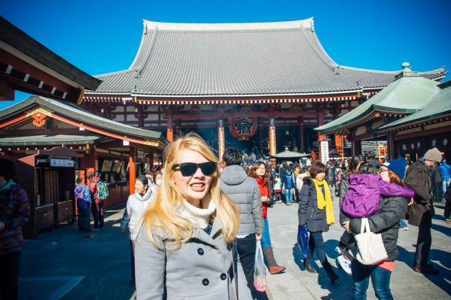 Nicole in front of Hondō