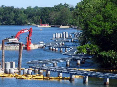 Lady Bird Lake Boardwalk construction