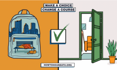 """Text saying """"Make A Choice, Change A Course"""" """"How To House ATX .com"""""""