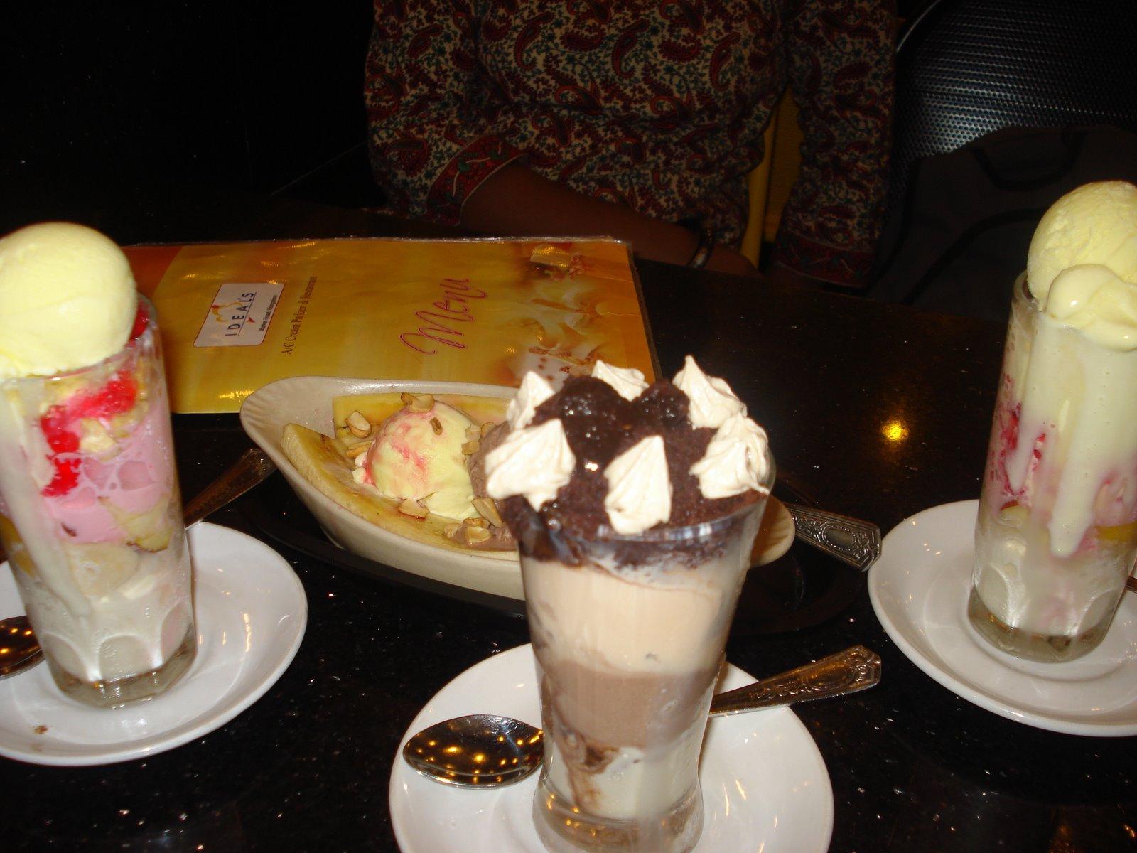 Ice creams - banana split, Gadbad, tiramisu
