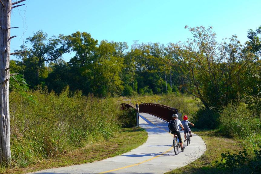 Austin Parks Foundation: Biking Path Child and Mom