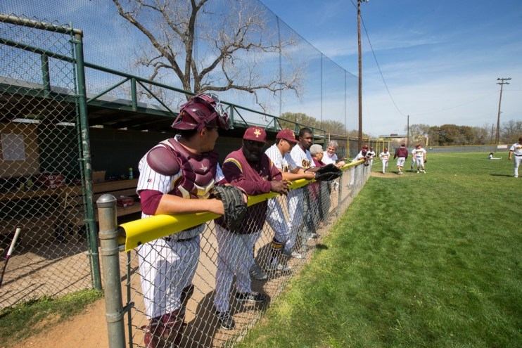 Huston-Tillotson Rams Baseball team in the dugout of Mabson Field