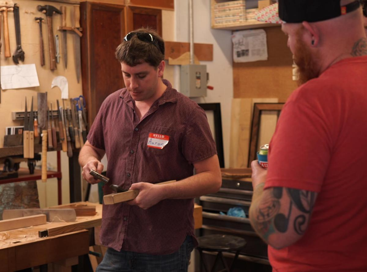 woodworker adjusting Japanese hand plane