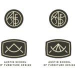 Furniture School vintage compass divider shape logo concepts Austin School of Furniture and Design