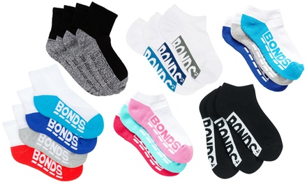 $25 for 12 Pairs of Quarter Crew or Low Cut Cushioned Bonds Unisex Kids Socks (Dont Pay up to $55.96)