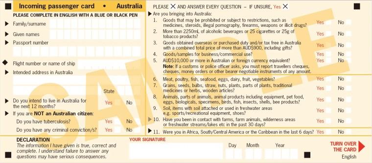 澳洲入境卡填寫教學、入進禁帶違禁品一覽,中藥西藥可以帶嗎?那些東西入境要申報?2