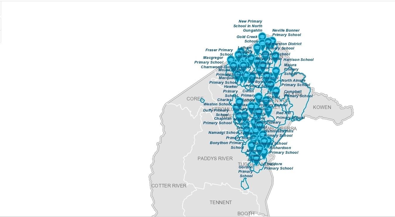 ACT Government Schools 首都坎培拉公立學校 - 各校分布