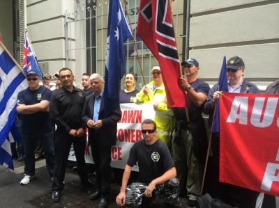 Jim Saleam with N. Michaloliakos protest in Sydney