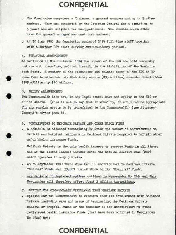 Fraser Cabinet Medibank Private Document