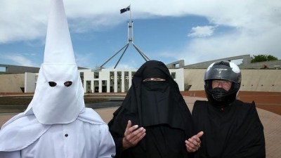 Image result for muslim in burka like klu klux klan freedom of speech