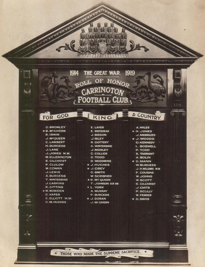 Carrington Football Club Roll of Honour