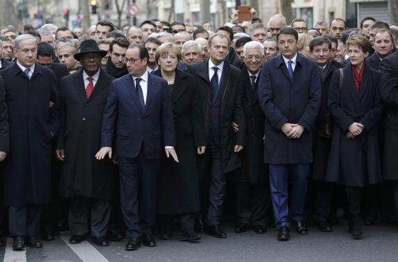 Heads of state attend the solidarity march (Marche Republicaine) in the streets of Paris