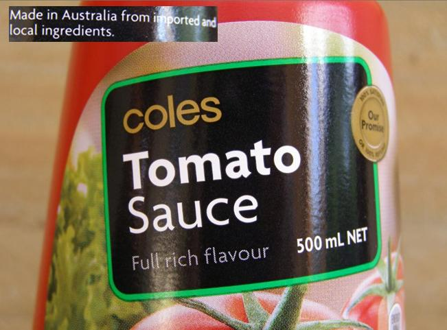 Coles Tomato Sauce with cheap imported ingredients