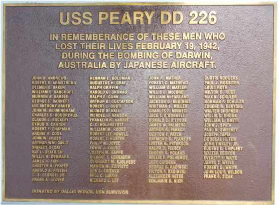 USS Peary DD226 - Roll  of Honour