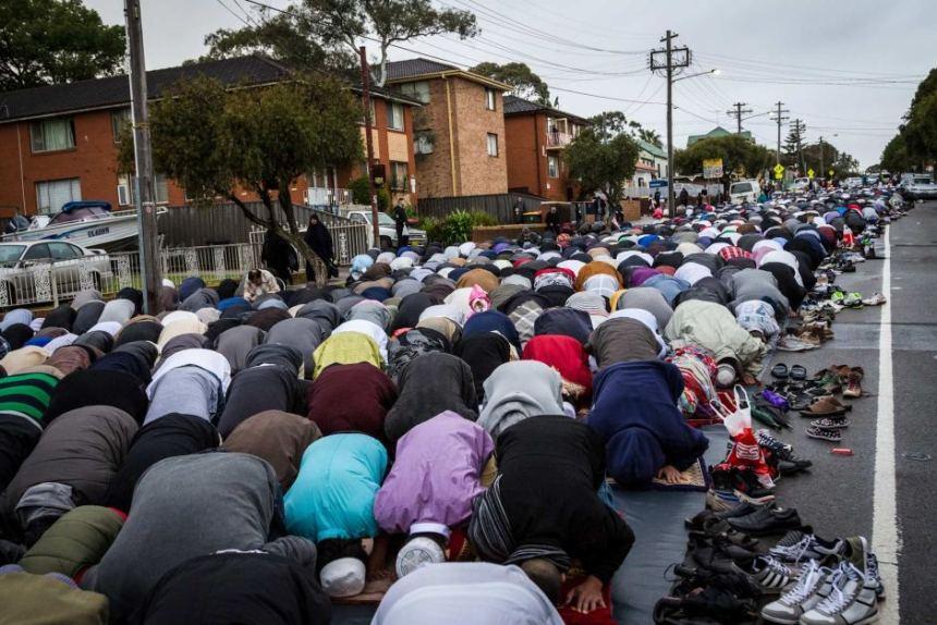 Muslims takeover Lakemba for Islamic ritual