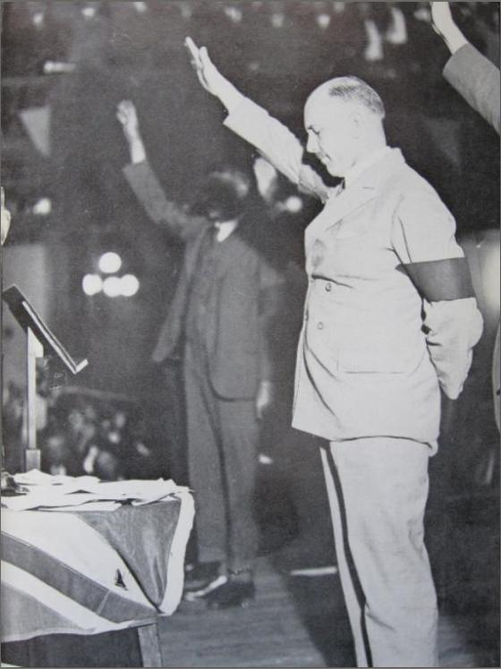 Eric Campbell leads a New Guard rally in 1932