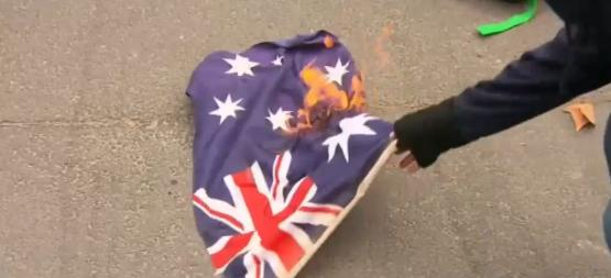 No Room For Racism anarchists burn Australian Flag