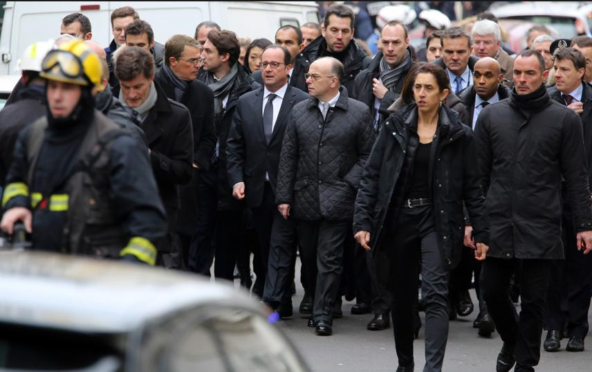 Francois Hollonde street march after Charlie Hebdo terror attacks
