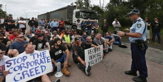 Australian ship workers protest outside Pacific Aluminium Tomago's smelter