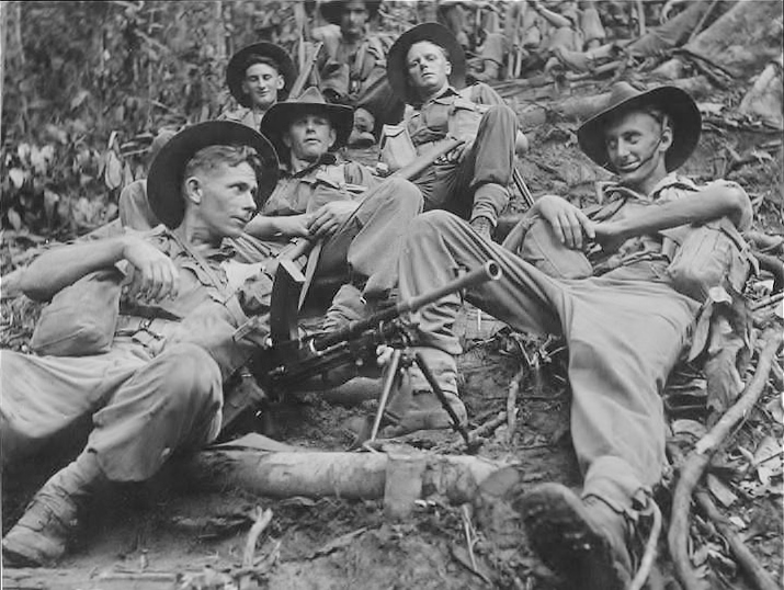 Australian soldiers from the 2-1 Infantry Battalion at Kokoda during World War II