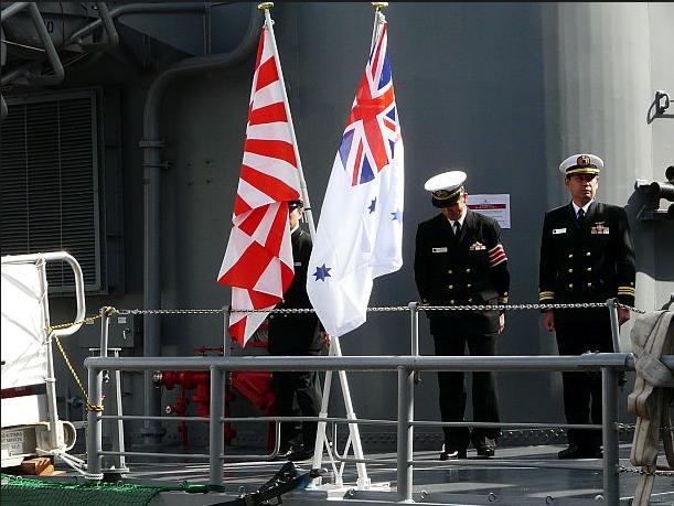 Australia's ADF shame saluting the Japanese Rising Sun War Flag in Sydney Harbour