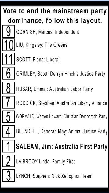 Australia First Party in Lindsay 2016 How to Vote Preferences