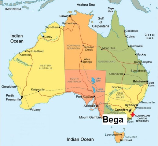 Australia. template Bega