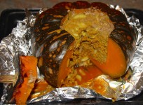 The finished and delicious baked pumpkin.