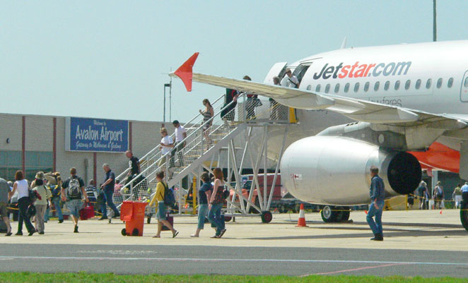 Jetstar passengers disembark at Avalon Airport.